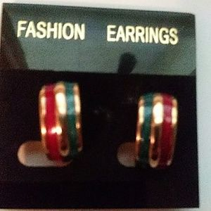 NON-PIERCED PURPLE , GOLD, AND GREEN EARRINGS